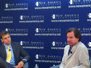 Peter Bergen speaking on the Manhunt for Osama bin Laden  at New America Foundation - photo Russ Imrie